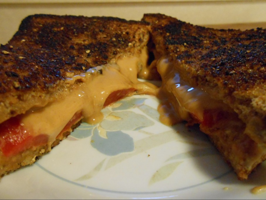 GRILLED PEANUT BUTTER AND ROASTED PEPPER SANDWICH
