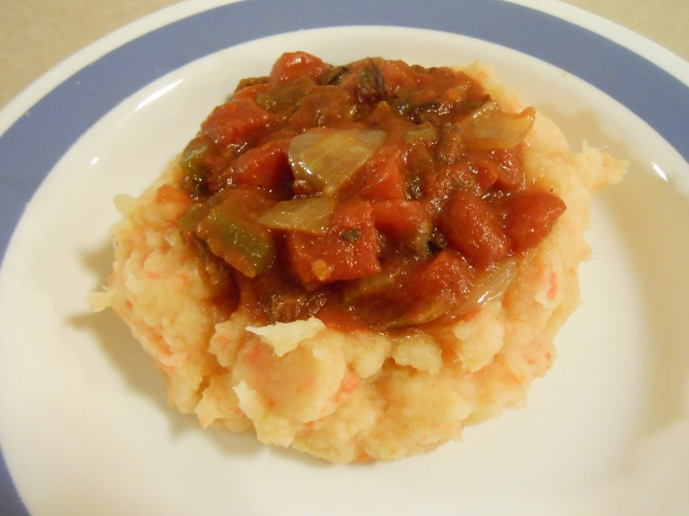 TURNIP CARROT MASH WITH TOMATO SAUCE-PLATED