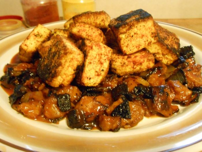 FRIED CLEVELAND TOFU AND BARBECUED VEGGIE SAUSAGE