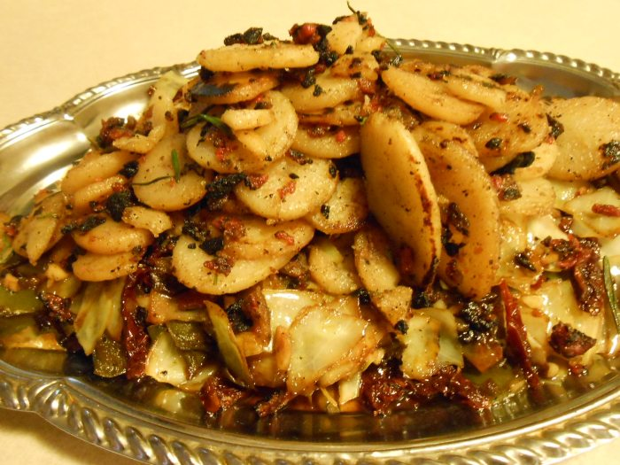CABBAGE AND SUN-DRIED TOMATO STIR-FRY WITH PAN-FRIED POTATOES