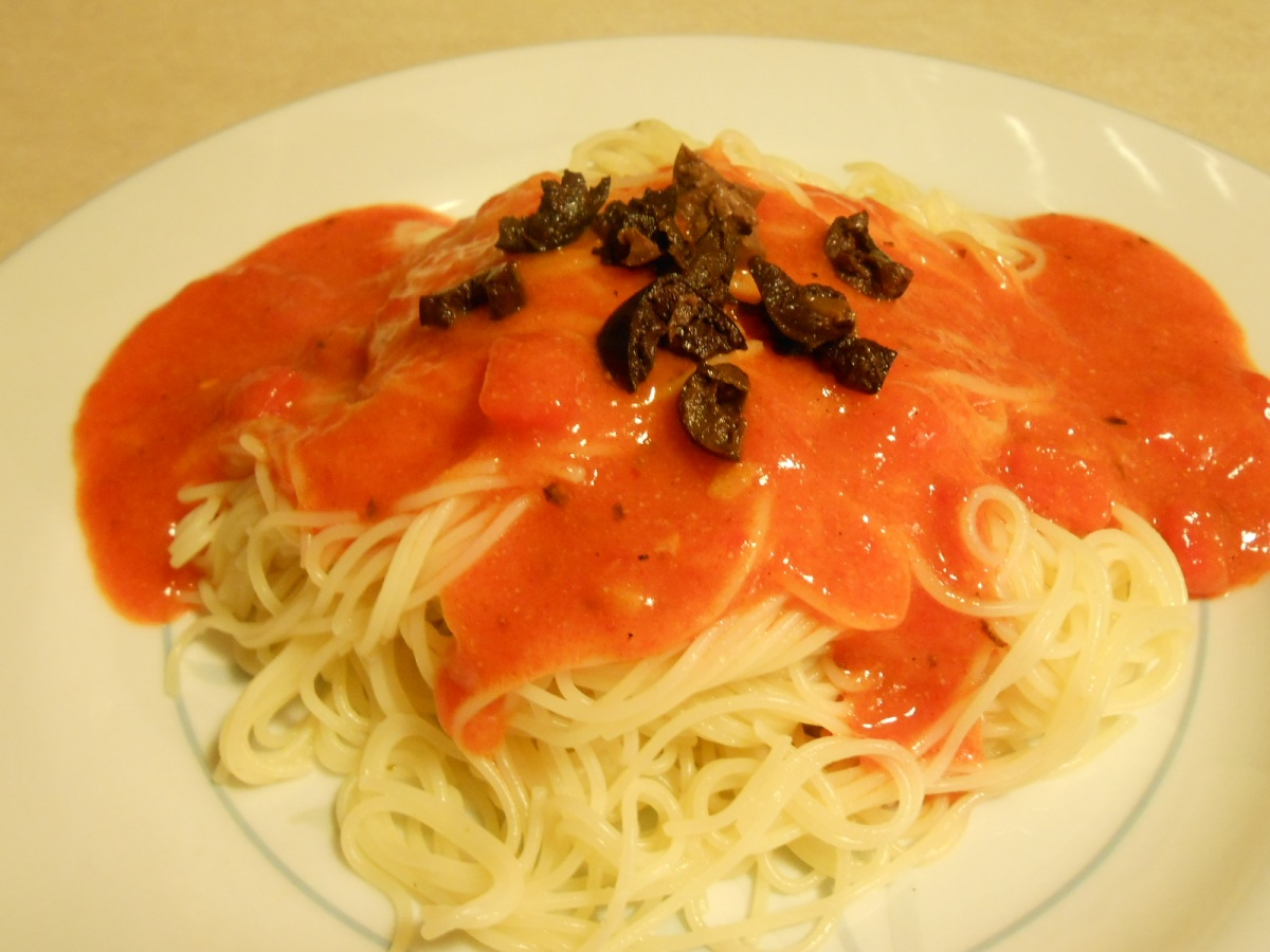 ROASTED PEPPER SAUCE OVER ANGEL HAIR PASTA