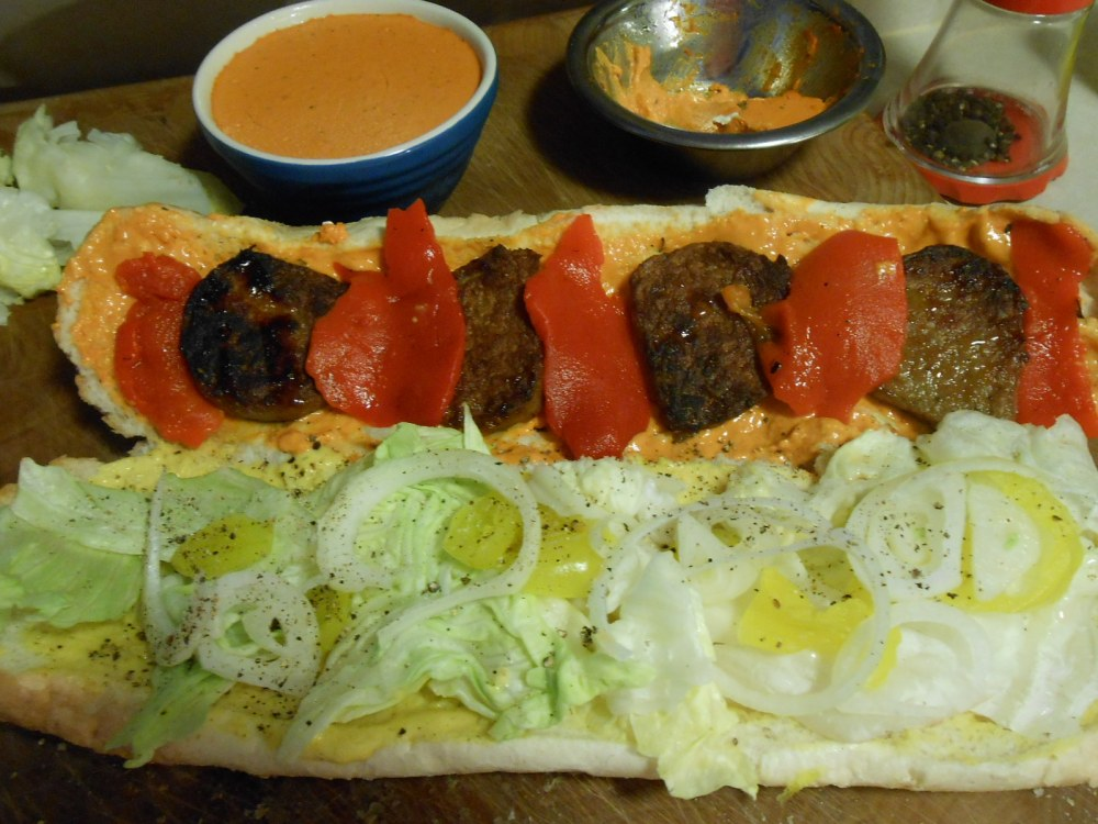 ROASTED PEPPER SOFT CHEESE ON SAUSAGE SUBS