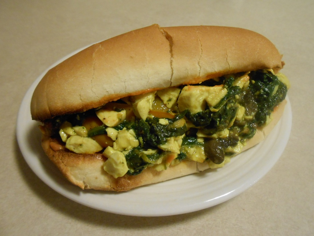 MINI PEPPER GRAVY TOFU SCRAMBLE IN SUB ROLL