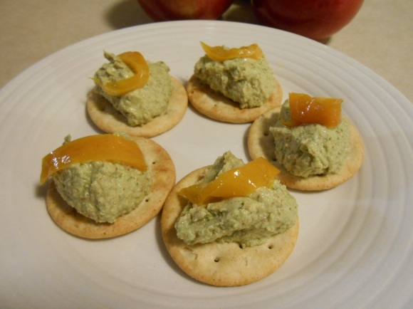 PINE NUT CILANTRO PESTO ON CRACKERS 1