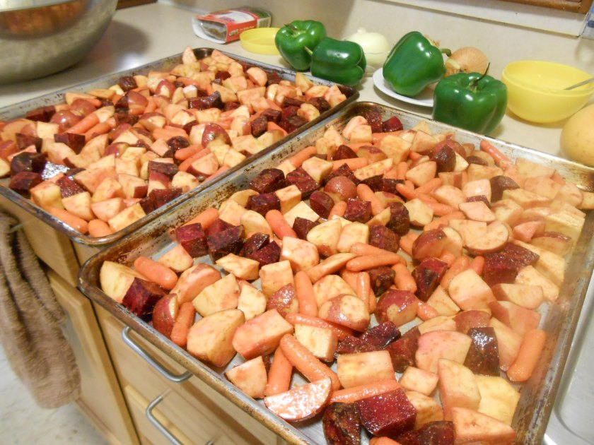ROASTED ROOT VEGGIES IN PANS BEFORE BAKING
