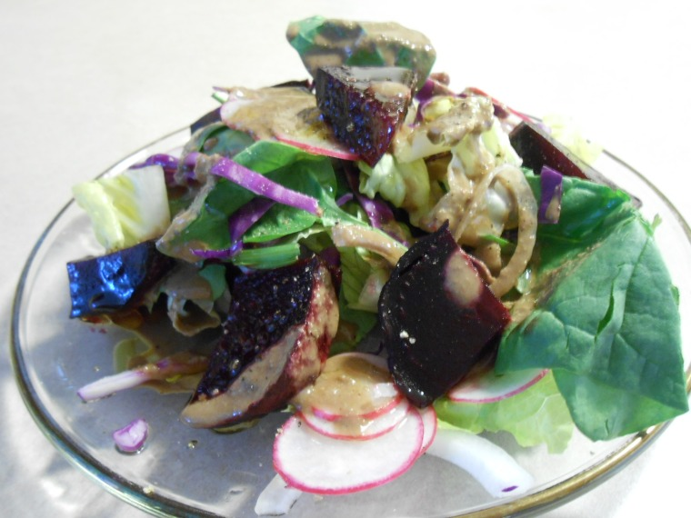 ROASTED BEET SALAD WITH 3 NUT SAUCE