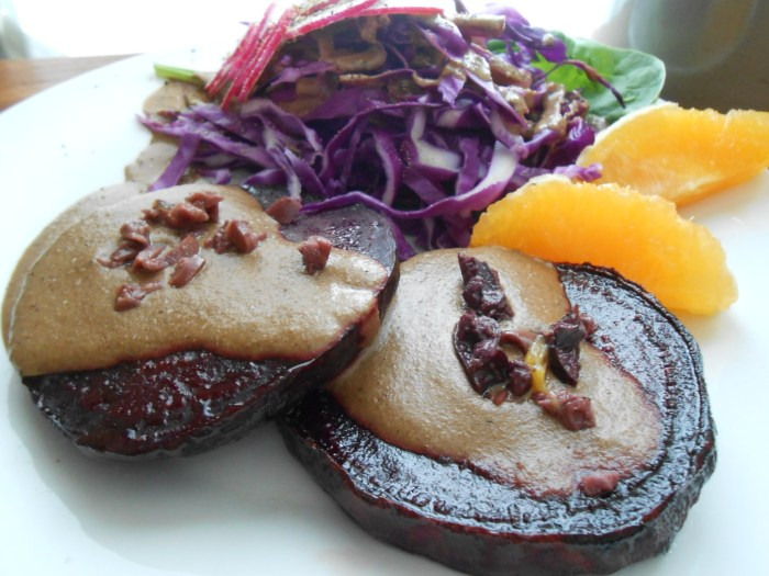 ROASTED BEET WITH 3 NUT SAUCE