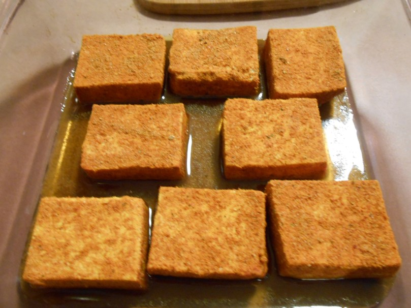 SMOKY PAPRIKA TOFU BEFORE BAKED