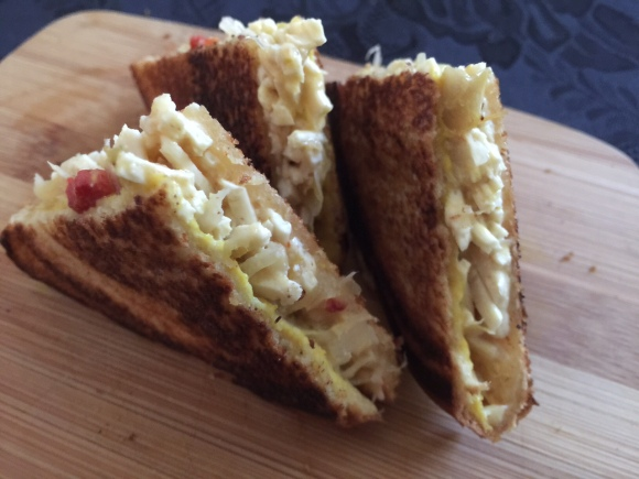 GRILLED CREAMED SAUERKRAUT AND DAIYA MOZZARELLA 1