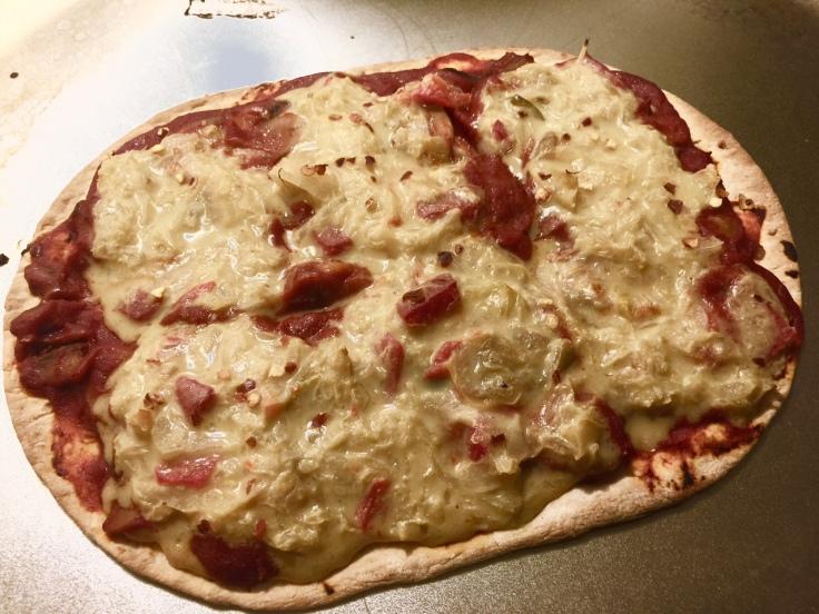 PIZZA WITH CREAMED SAUERKRAUT