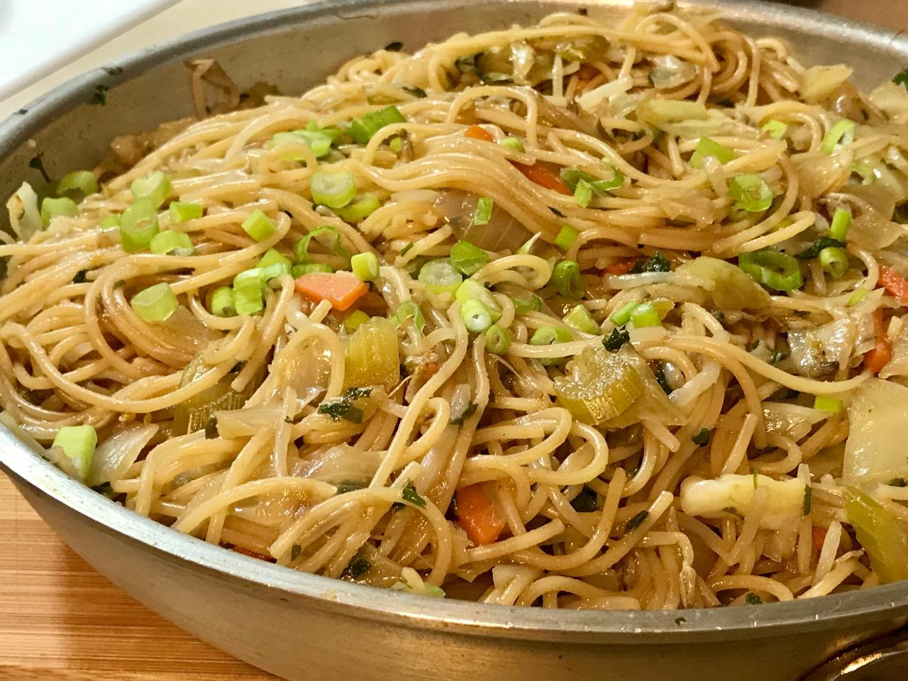 Stir-Fried Sprout And Spaghetti